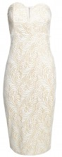 TFNC Halo Swirl White Bodycon Midi Dress