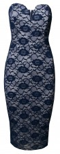 TFNC Halo Blue Lace Midi Dress