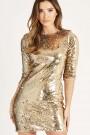 TFNC Paris Scallop V Back Dress