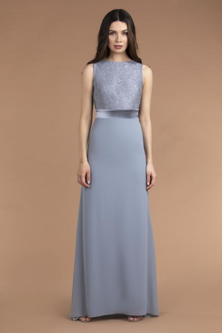 TFNC Halannah Lace Sleeveless Blue Grey Maxi Dress