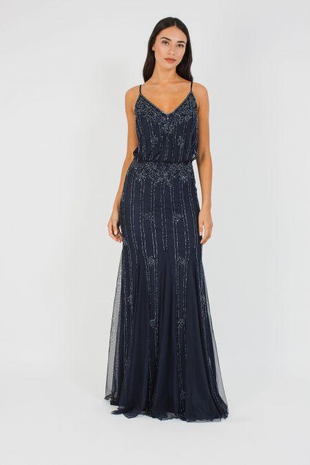 Lace & Beads Keeva Navy Maxi Dress