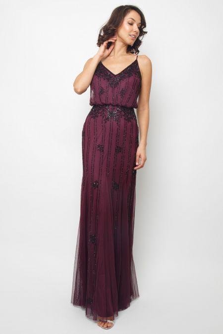 Lace & Beads Keeva Burgundy Maxi Dress