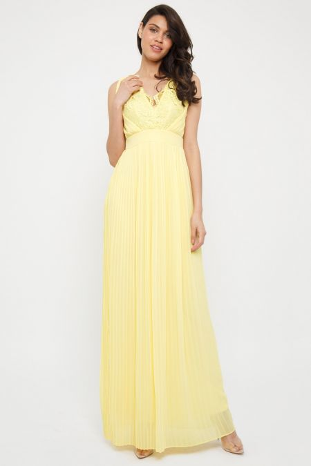 TFNC Madaline Pastel Yellow  Maxi Dress