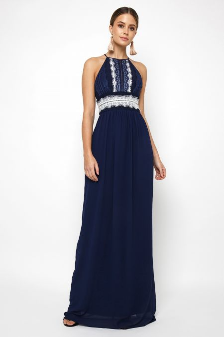 TFNC Getta White/Navy Maxi Dress