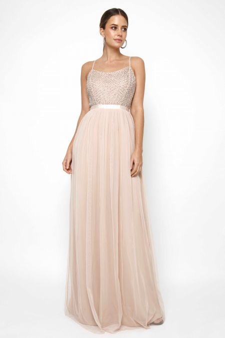 Lace & Beads Garnet Nude Maxi Dress