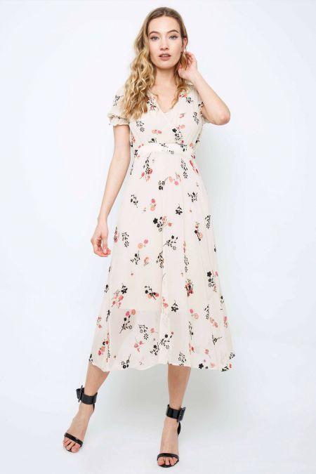 TFNC Mailla Floral Cream Midi Dress