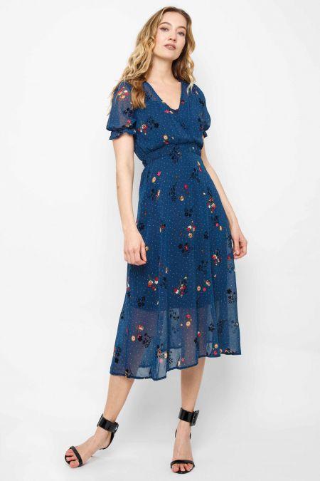 TFNC Mailla Floral Navy Midi Dress