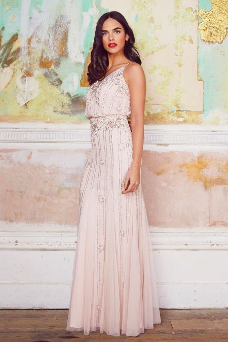 Lace & Beads Keeva Nude Maxi Dress