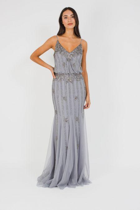 Lace & Beads Keeva Grey Maxi Dress