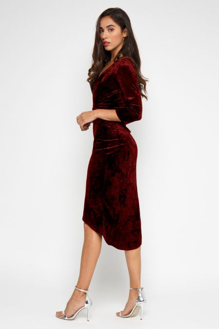TFNC Tallia Burgundy Velvet Dress