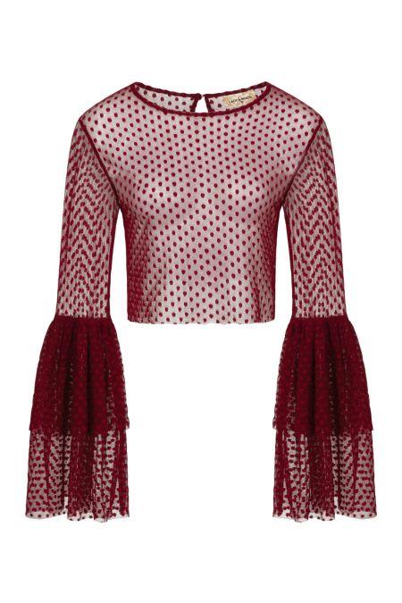 Lace & Beads Loon Burgundy Sheer Crop Top