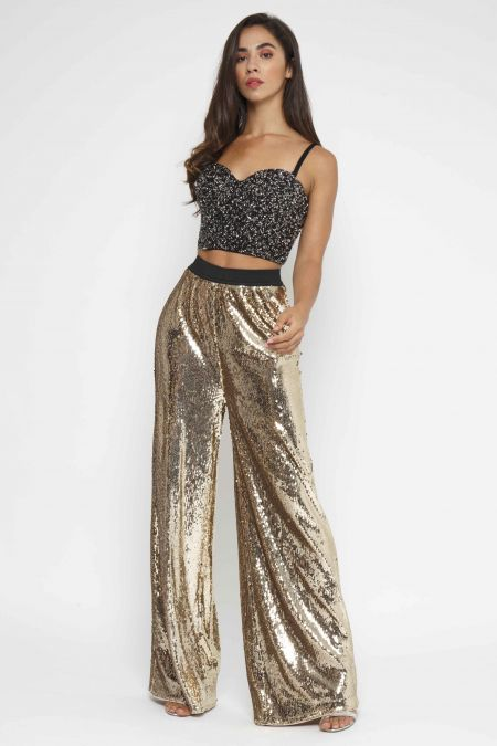 TFNC Vrai Gold Sequin Pants