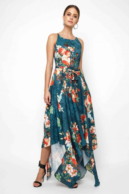 Lace & Beads Cosmos Green Floral Maxi Dress