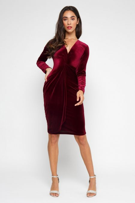 TFNC Tessa Velvet Burgundy Midi Dress