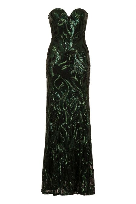 TFNC Gaynor Green Sequin Maxi Dress