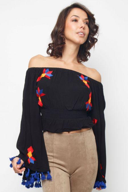 Lace & Beads Zoya Black Top