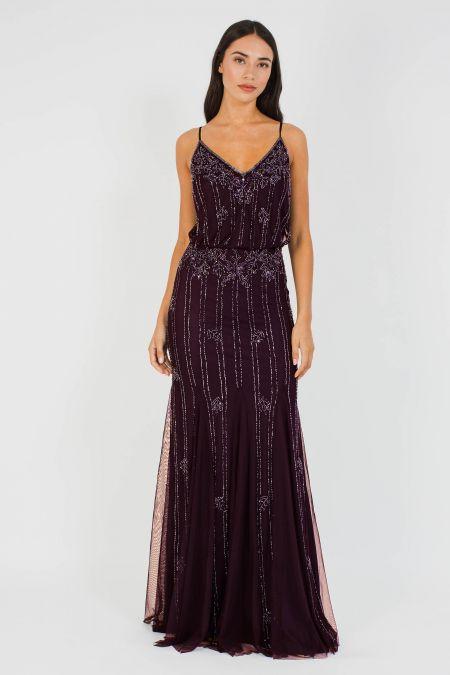 Lace & Beads Keeva Bordeaux Maxi Dress