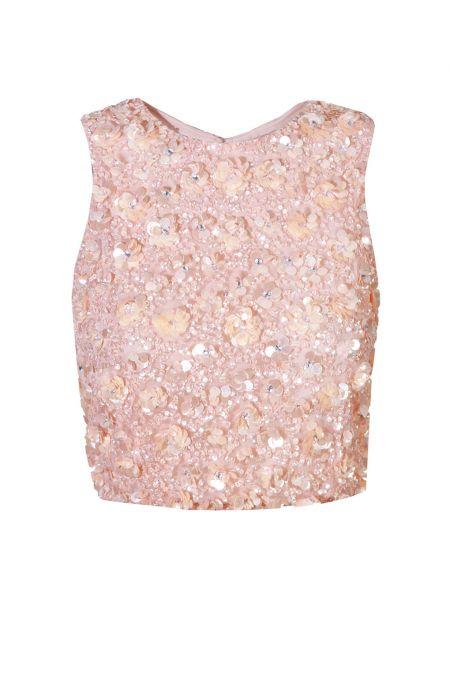 Lace & Beads Hazel Pink Sequin Top
