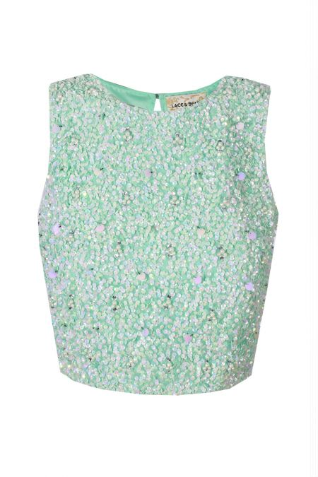 Lace & Beads Picasso Mint Sequin Top