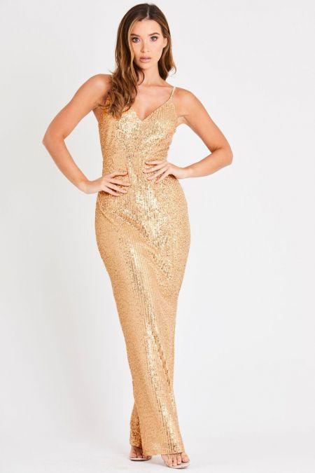 Skirt & Stiletto Valentina Gold Sequin Maxi Dress