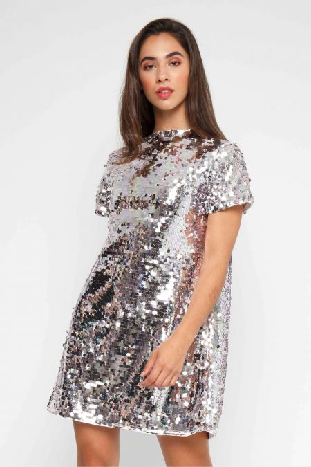 TFNC Tana Sequin Silver Tunic Dress