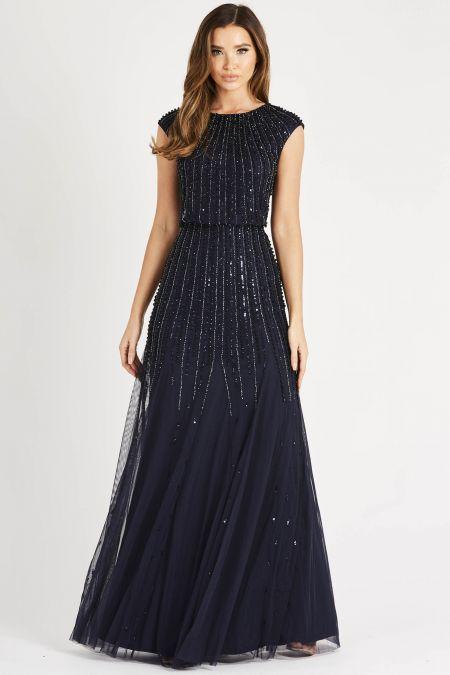 Lace & Beads Maje Navy Maxi Dress
