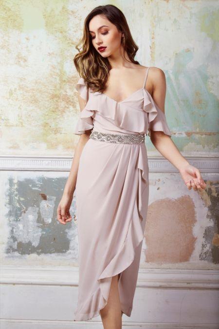 TFNC Elsa Wrap Midi Whisper Pink Dress