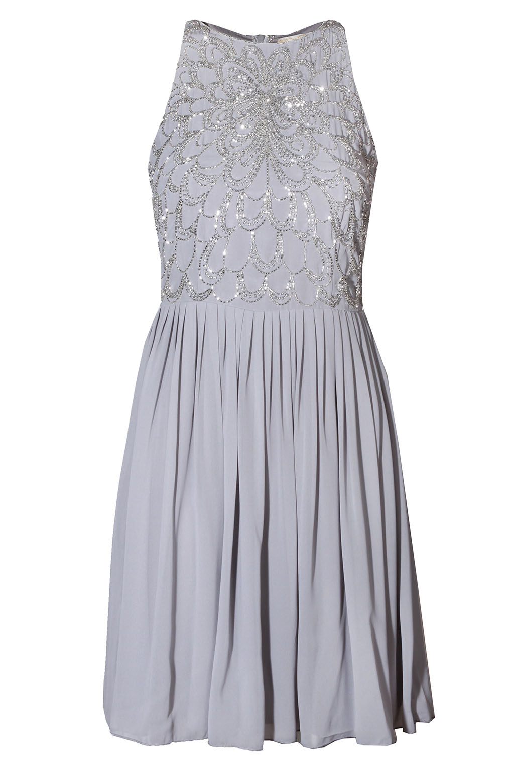 Image of Lace & Beads Abliene Grey Dress