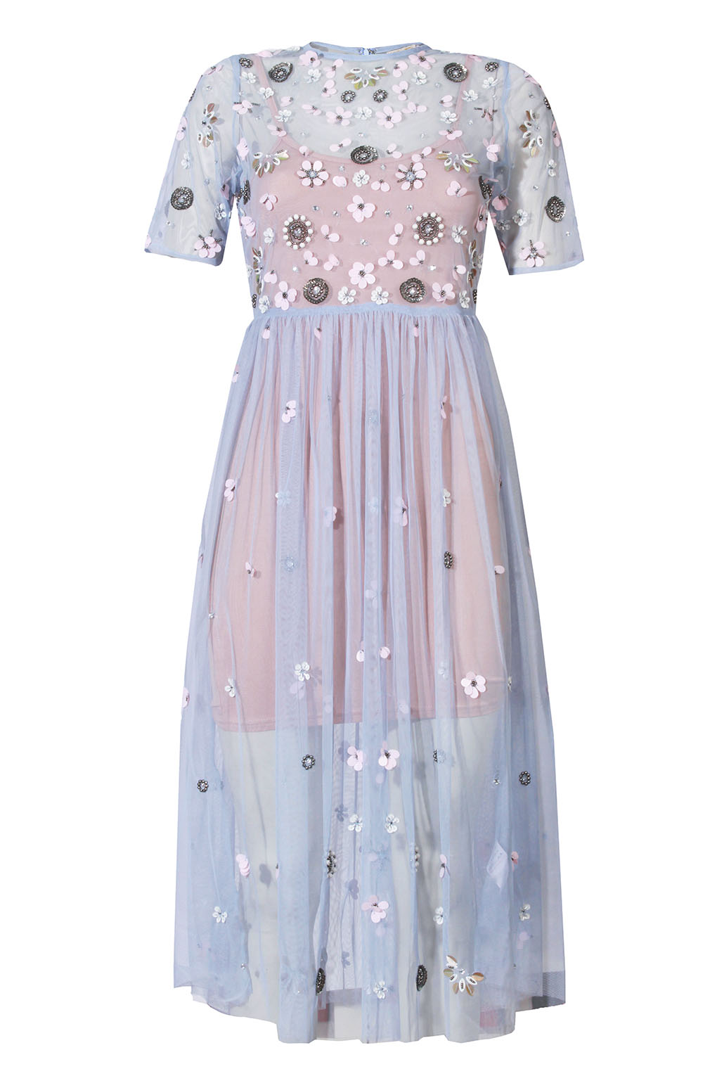 Image of Lace & Beads Baby Blue Sheer Dress