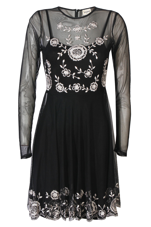 Image of Lace & Beads Amanda Black Sheer Dress