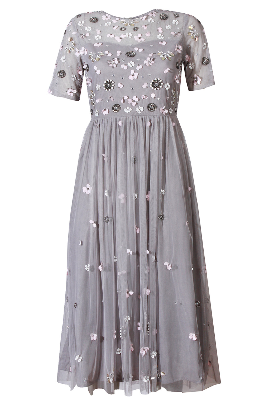 Image of Lace & Beads Baby Grey Dress