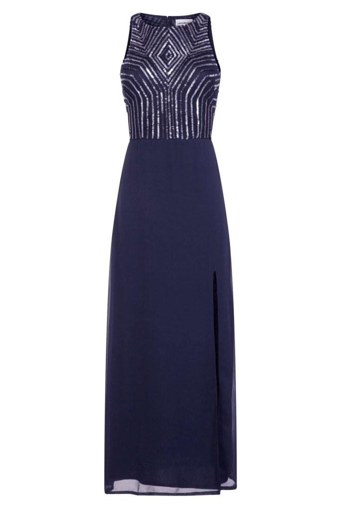 Image of Lace & Beads Adelina Navy Maxi Dress
