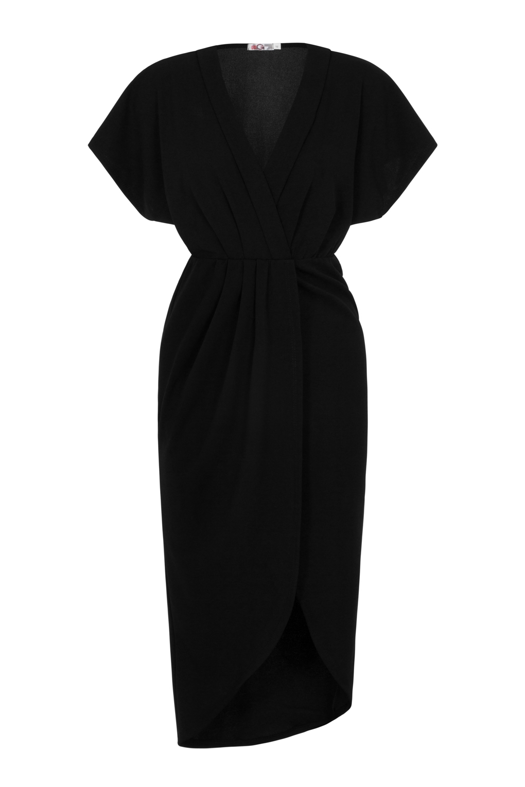 16ef535c83 WalG Batwing Wrap Black Midi Dress