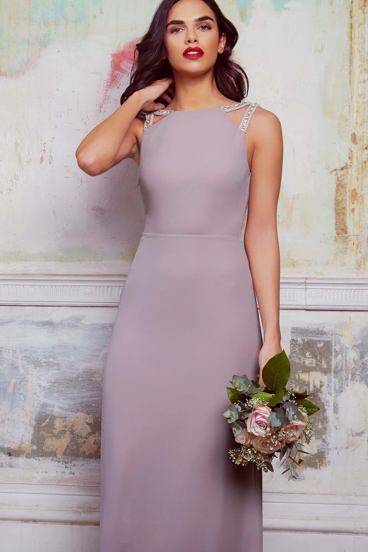 70bf32620076 Tfnc Wedding Plus Maxi Dress With Embellished Cold Shoulder - Grey ...