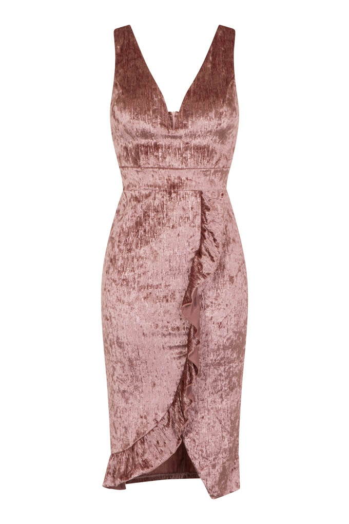 8c6d3feb82 WalG Crushed Velvet Pink Midi Dress With Front Frill