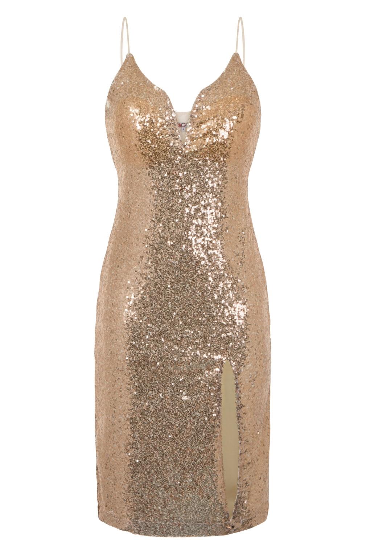 e320c1c99d919 WalG Sequin Gold Midi Dress. WalG Party Dress - V Neckline ...